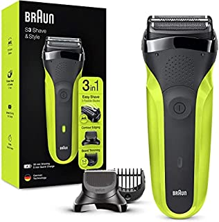 Braun Shaver 300BT Green Series Rotation Electric Shaver Trimmer, Black