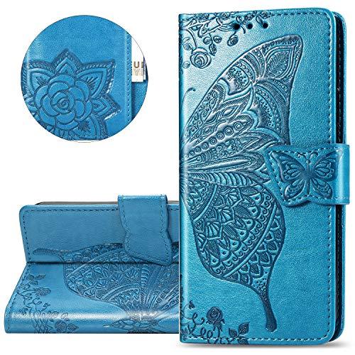 HMTECH Carcasa Samsung Galaxy A70,Funda Samsung Galaxy A70 Flor de Mariposa en Relieve Carcasa de Tipo Libro con Ranuras para Tarjetas de Soporte y Solapa con Cierre magnético Case,SD Butterfly Blue