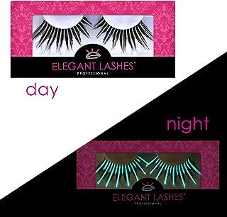 Spiky Long Glow-in-the-Dark Black & White Costume False Eyelashes for Drag Queen Halloween Dance Rave (1 pair, G201 (drag lash))