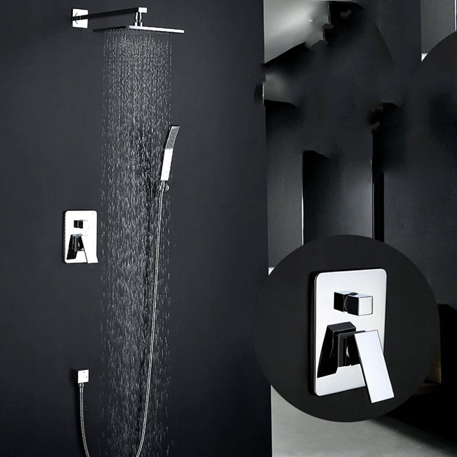 ZHWY take a shower Shower set Bathroom Concealed black shower head all bronze Concealed In-wall take a shower