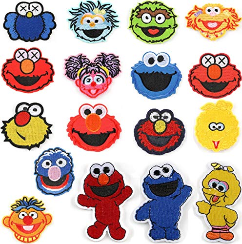 Sesame Street Cloth Stickers Patches Set - 17PCS, ELMO, Big Bird, Cookie Monster, for Shirt Pants Hat Bag Backpacks Jeans Embroidery Create Logo Badge Sign Costume Decor Gift; BT1