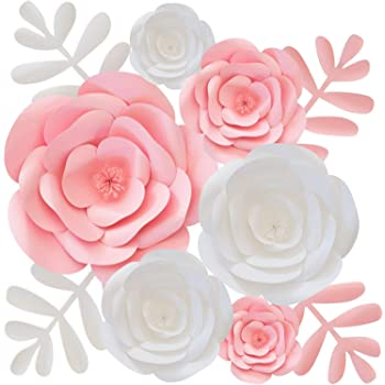 Paper Flowers Decorations for Wall, Nursery Decor, Wedding, Baby & Bridal Shower, Hanging Flower Backdrop, Floral Party Decoration, Centerpieces, Large 3D, Pink & White
