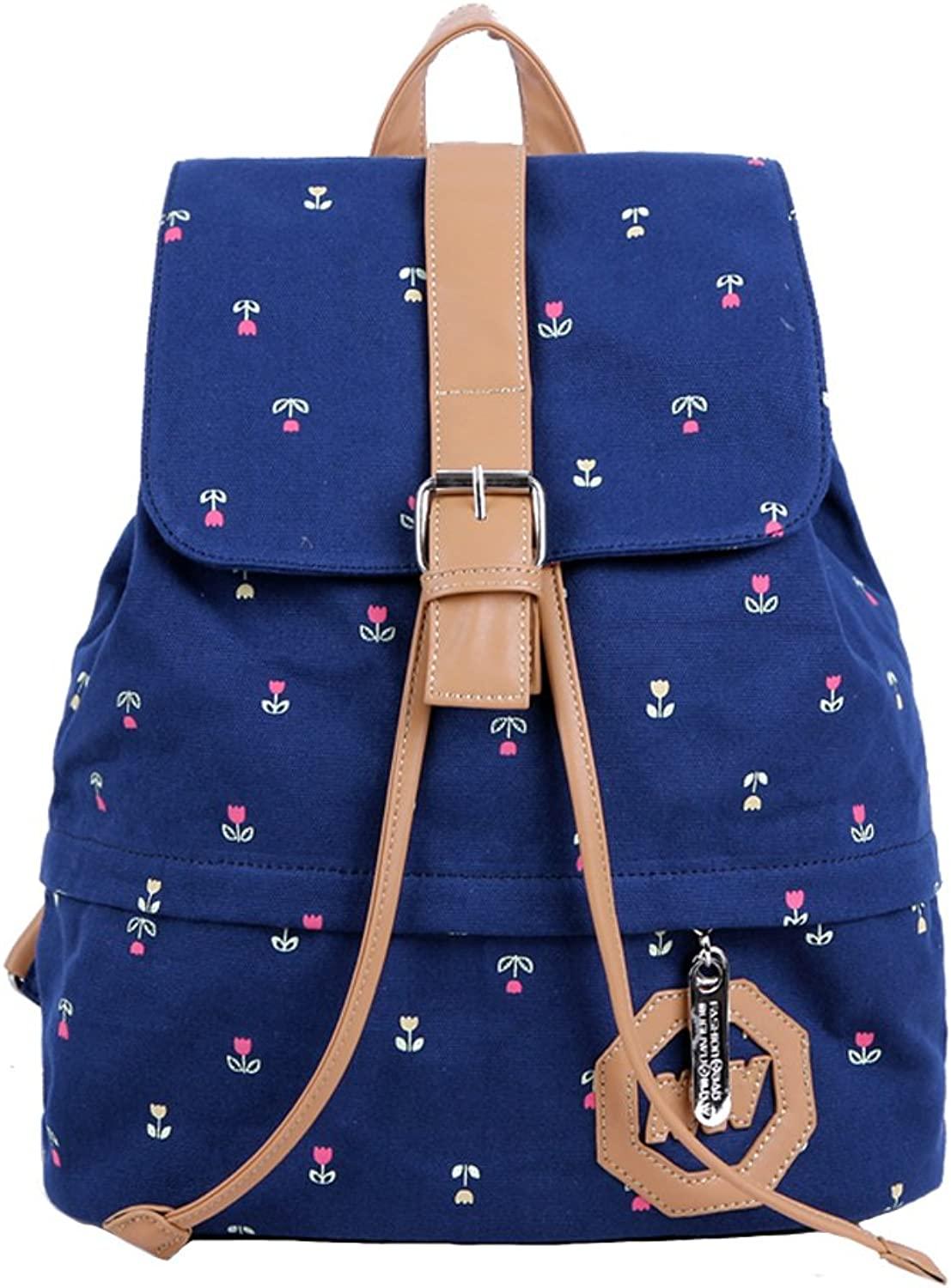 Girls Student Fashion Prints Canvas Travel Backpack bluee