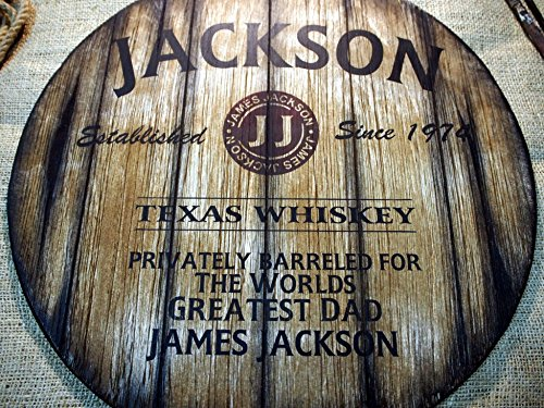 Personalized Decorative Sign Inspired by Old Whiskey Barrel Lids, Custom Gifts for Men, Rustic Living Room Home Bar Man Cave Decor