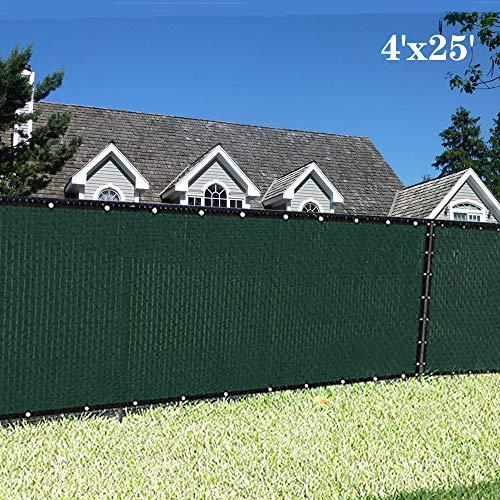 KUD - visualización de privacidad para valla verde con ojales de latón de 150 g/m², resistente para jardín al aire última intervensión, Verde oscuro, 4'x25'