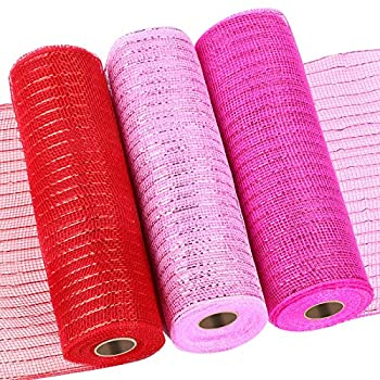 3 Rolls Poly Mesh Ribbon 10 Inch x 30 Feet Each Roll for Wreaths Swags Cloth and Home Decorating Mardi Gras Metallic Decor  Metallic Foil Red Bright Pink Foil Light Pink Foil