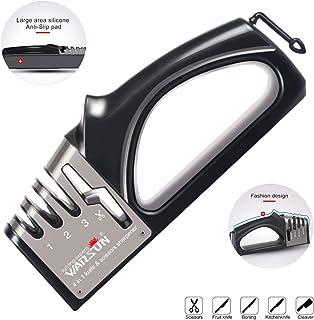 Afilador de cuchillos profesional 4 en 1, afilador de cuchillo, afilador de tijeras, afilador fácil manual con mango y base ergonómica
