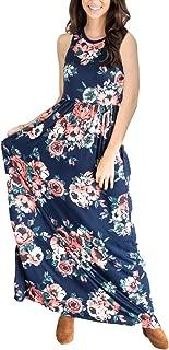 Women's Maxi Dress Floral Printed Autumn 3/4 Sleeve Casual Tunic Long Maxi Dress