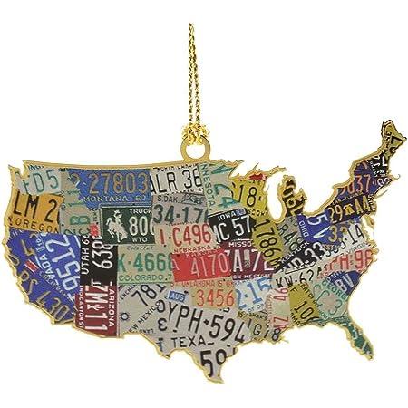 "Mud Pie /""Santa Stop Here/"" Sleigh on USA Tin Map Christmas Ornament"