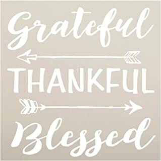 (23cm x 23cm ) - Grateful Thankful Blessed Stencil with Arrows by StudioR12 Reusable Word Template for Painting on Wood DI...