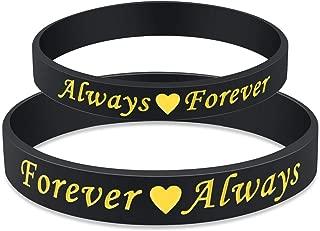 Always and Forever Silicone Valentine Couple Bangle Bracelet Matching Set