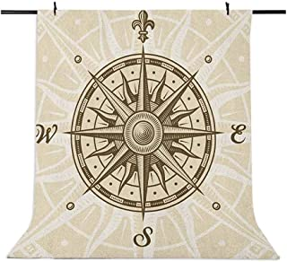 8x12 FT Vinyl Photography Background Backdrops,Sun Motif Backdrop with Windrose Directions East West North South Navigatio...