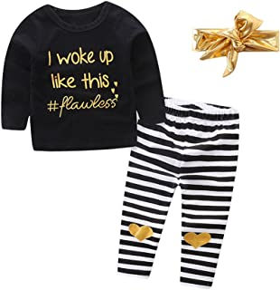 OUTGLE Newborn Baby Girl Long Sleeve Clothes Toddler Black Top + Stripe Trousers + Gold Headband Outfits Set