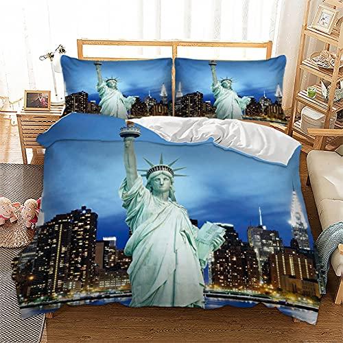 Juego de cama de 135 x 200 cm, diseño de paisaje de ciudad moderno y famoso signo cultural cultural, funda de edredón con funda de almohada (New York, 135 x 200 cm)