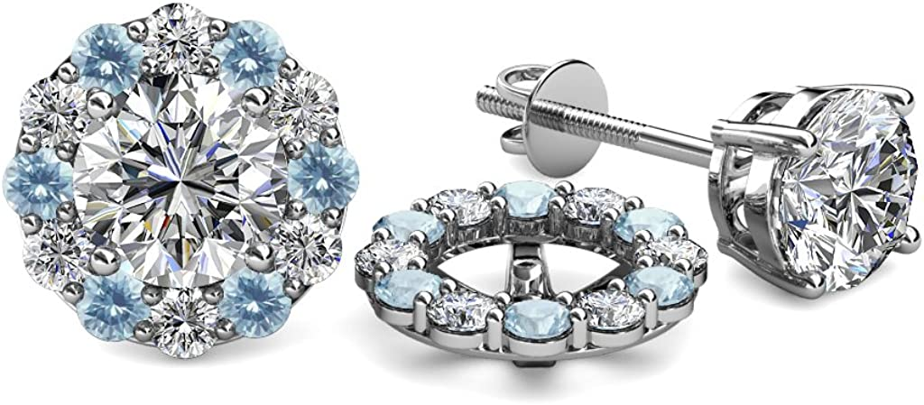 TriJewels Aquamarine and Diamond (SI2-I1, G-H) Halo Jacket for Stud Earrings 0.76 ct tw in 14K White Gold
