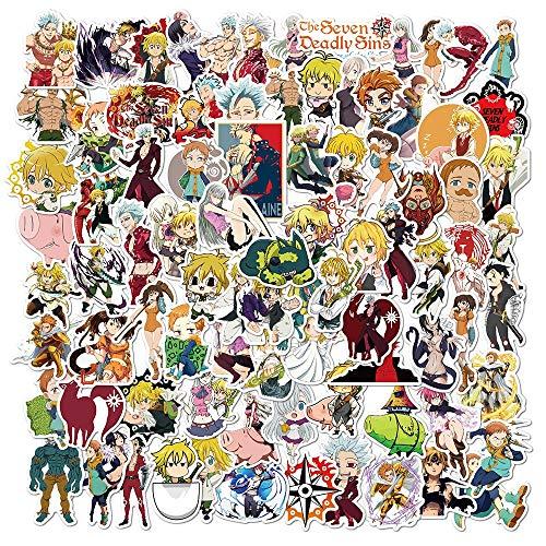XXCKA 100 Piezas Anime los Siete pecados Capitales Pegatinas PVC Graffiti Pegatinas Maleta Equipaje Trolley Impermeable para niños Juguetes
