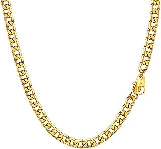 Collar para Hombre Mujer, Cierre Personalizable Grabado DIY, Cadena Cubana 8 Longitud Opcional Dorado/Negro/Plateado, Ancho 4mm/6mm/9mm/13mm