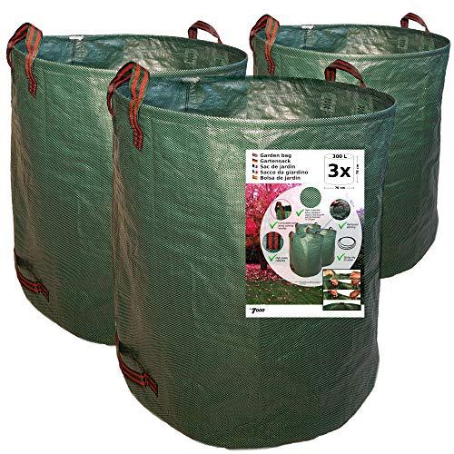 7doo Confezione 3X 300L Sacchi da Giardinaggio XXL, Resistente Sacco Raccogli Foglie Erba di 2a Generazione, Prodotto Professionale, Attrezzatura Giardino e Giardinaggio, in Polipropilene Pieghevole