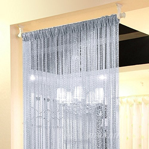 Eyotool 1x2 M Door String Curtain Rare Flat Silver Ribbon Thread Fringe Window Panel Room Divider Cute Strip Tassel for Wedding Coffee House Restaurant Parts, Grey