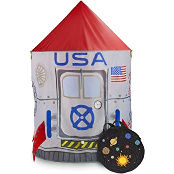 Imagination Generation Space Adventure Roarin' Rocket Play Tent with Milky Way Storage Bag - Indoor/Outdoor Children's Astronaut Spaceship Playhouse, Great for Ball Pit Balls and Pretend Play