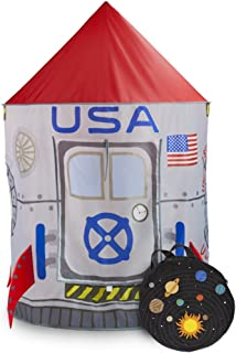 Imagination Generation Space Adventure Roarin' Rocket Play Tent with Milky Way Storage Bag – Indoor/Outdoor Children's Astronaut Spaceship Playhouse, Great for Ball Pit Balls and Pretend Play