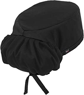 Professional Chef Skull Cap with Pony Tail Holder (One Size Fits Most, 5 Colors) (Black)