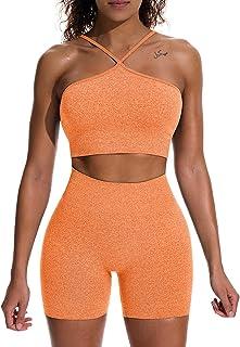 Women's Workout 2 Piece Outfits High Waist Running Shorts...