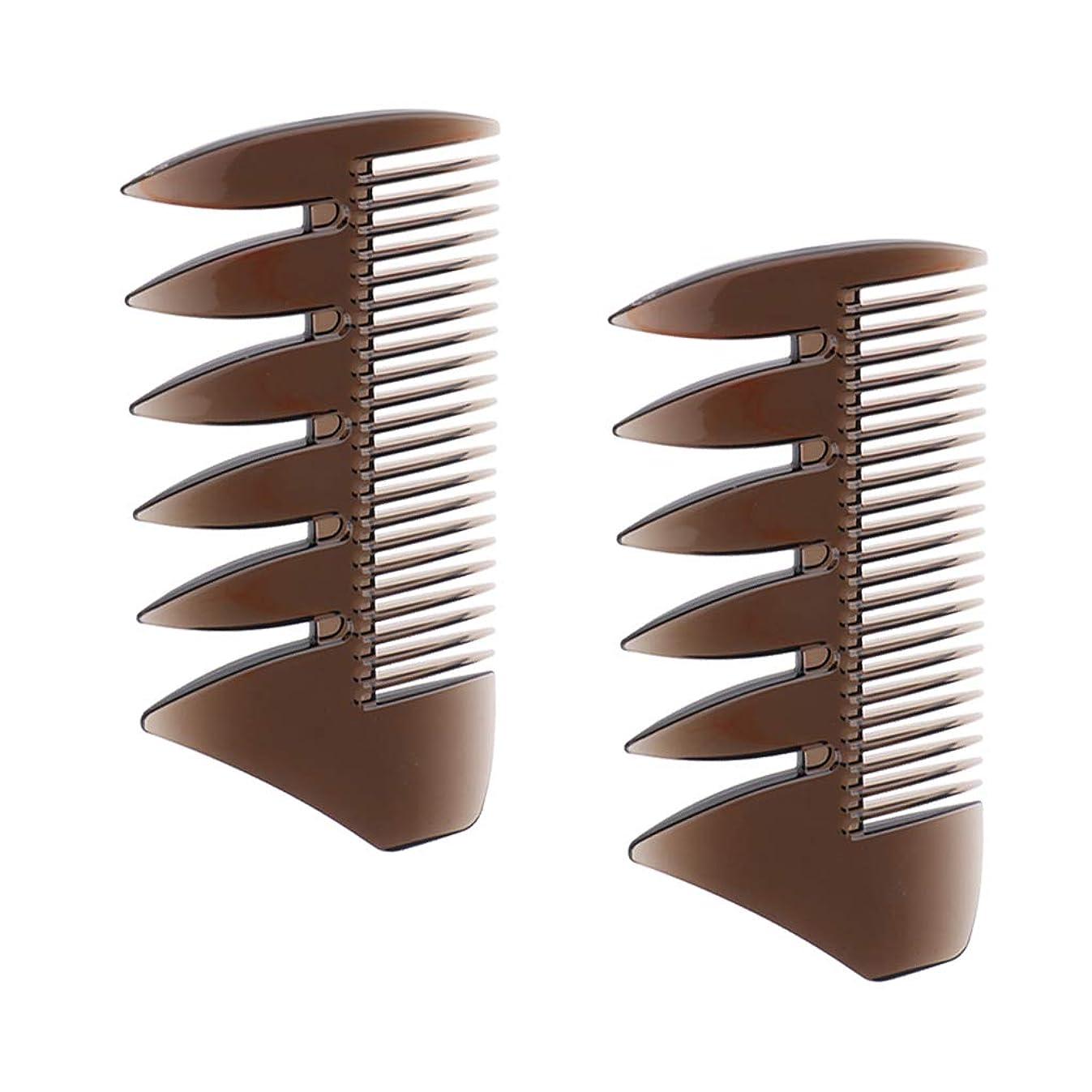 品イブニング解釈F Fityle 2個 ヘアコンビ デュアルサイド メンズ オイルの髪 櫛 ヘアサロン ヘアスタイリング