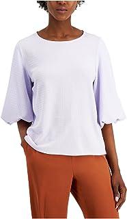 ALFANI Womens Purple Textured Jewel Neck Top AU Size:18