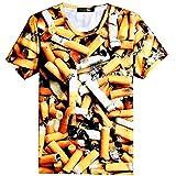 (mind fashion) 目立つ 面白 タバコ 吸殻 Tシャツ スリム U首 半袖 ユニセックス 男女兼用 (S)