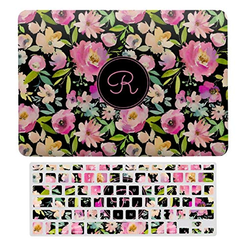 For MacBook Air 13 13 Inch Case A1466、A1369 Hard Shell Cover for MacBook Air 13 Case & Keyboard Cover, Boho Pastel Pink Green Floral Watercolor Botanical Laptop Protective Shell Set