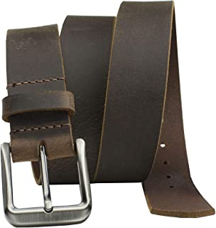 Roan Mountain Distressed Leather Belt - Nickel Smart - Brown Genuine Full Grain Leather Belt with Nickel Free Buckle