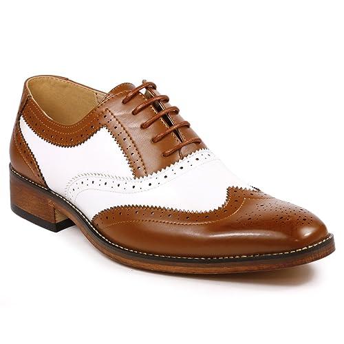Men wing tip brogue formal shoes Men shoes Handmade men fashion Two tone shoes