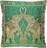 Ruwado Indische Banarasi Seide Deko Kissenbezüge 40 cm x 40 cm, Extravaganten Designs für Wohnzimmer & Schlafzimmer Dekoration - Doppel Elefant Muster 40 x 40 cm | 16 x 16 Zoll, Grün-4