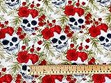 Oddies Textiles Stoff mit Totenkopf-Motiv, 100 % Baumwolle,