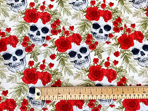 Oddies Textiles Stoff mit Totenkopf-Motiv, 100 % Baumwolle, Totenköpfe und rote Rosen, Meterware