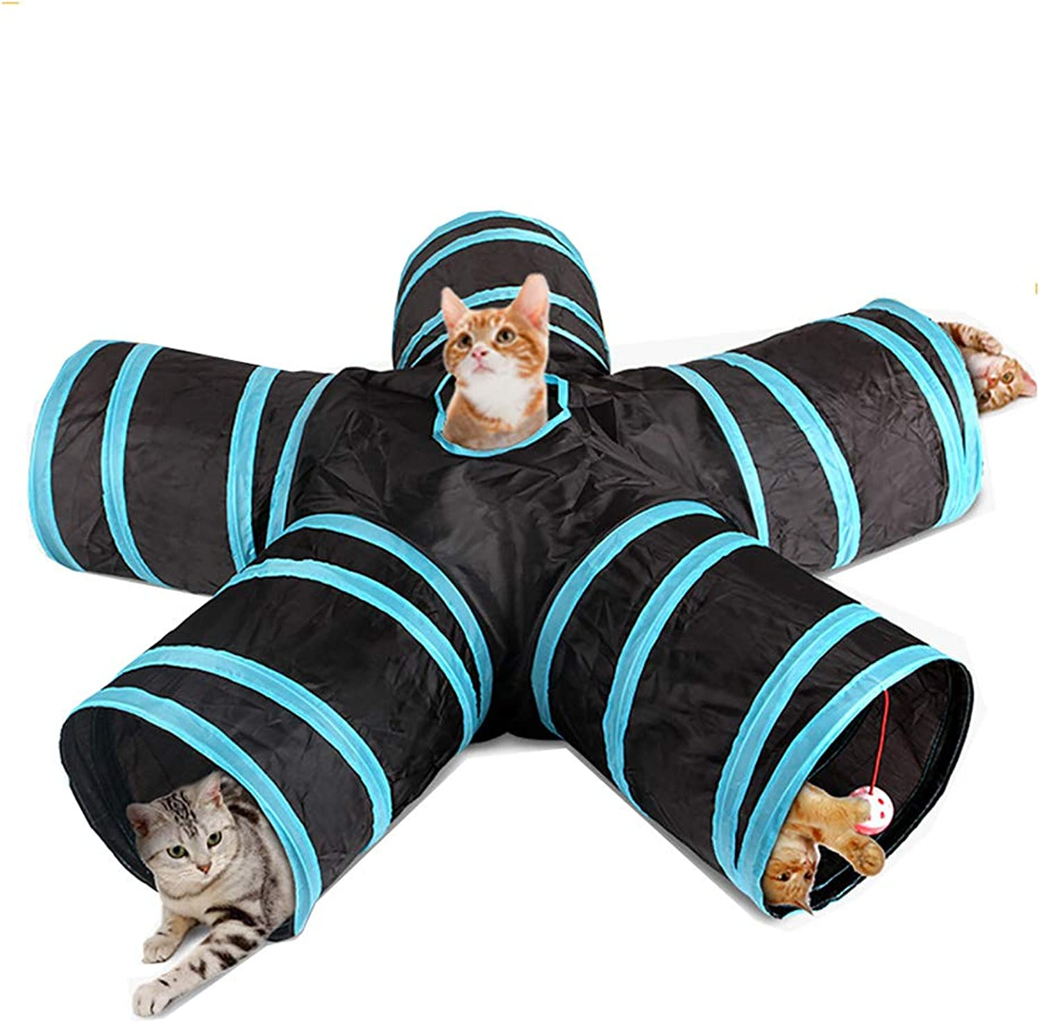 Cat Tunnel, 5Way Foldable Pet Toy Tunnel  Rabbit, Cat and Dog Game Pipe Indoor Outdoor Sports, Hide, Train and Run  Dark bluee