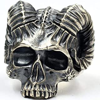 WGY Punk Gothic Satanic Demon Sorath Schädel Ring Männer Ziegenkopf Biker Ring Schmuck Geschenk Retro Rock Punk Schädel