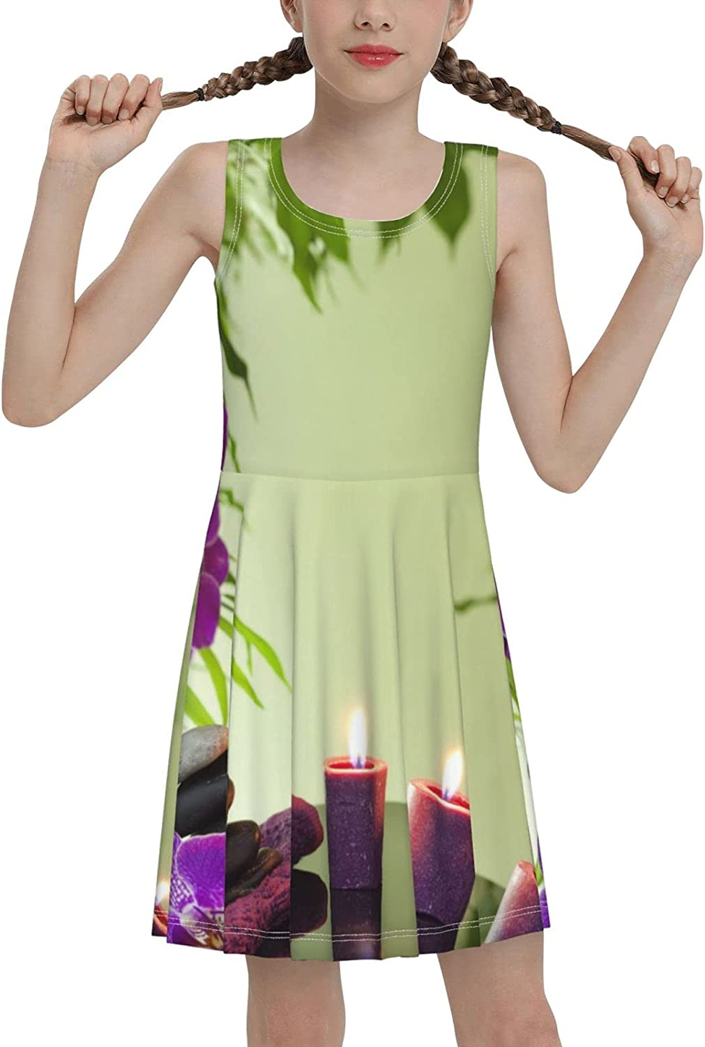 SDGhgHJG Candles and Orchids Sleeveless Dress for Girls Casual Printed Lightweight Skirt