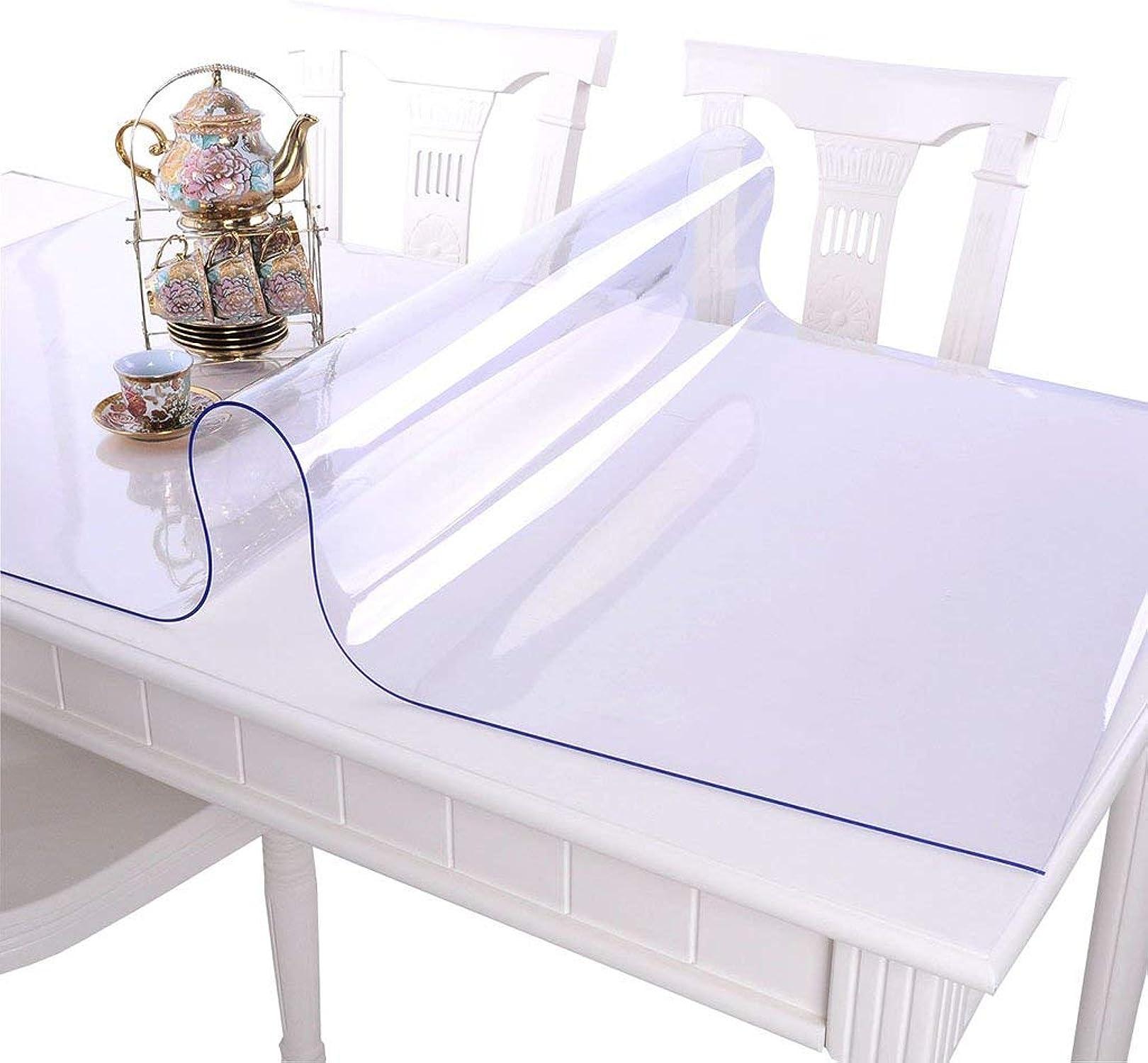 JFFFFWI Nappe cirée et imperméable en PVC Souple résistant à l'huile de Table en Plastique Transparent Mat Plaque Cristal (Couleuré  A, Taille  70  140cm)