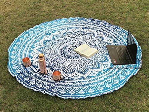 raajsee Tela Redonda de Mandala Estilo Hippie diseño Indio Bohemio, Ideal como Colcha, Tapiz Decorativo, Mantel o Toalla de Playa, para meditación y Yoga, 175 cm, algodón, Azul, 70inch