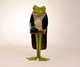 3SCompany Butler Frog 14 inch Statue Dumb Waiter with tray