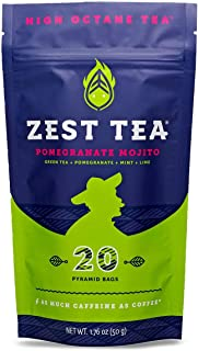 Zest Tea Energy Hot Tea, High Caffeine Blend Natural & Healthy Black Coffee Substitute, Perfect for Keto, 135 mg Caffeine per Serving, 20 Sachets (1 Pouch), Pomegranate Mojito Green Tea