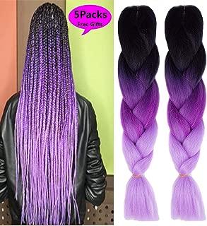 MSBELLE 5 Pcs 24 Inch Synthetic Braiding Hair Extensions Kanekalon Braiding Hair Ombre Jumbo Braids Hair for Black Women braiding Hair Black to Deep Purple to Light Purple