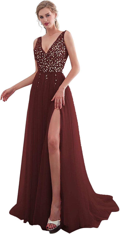 Wholesale iLovewedding Women's V Neck High Tulle Long Sequins Evening Baltimore Mall Slit