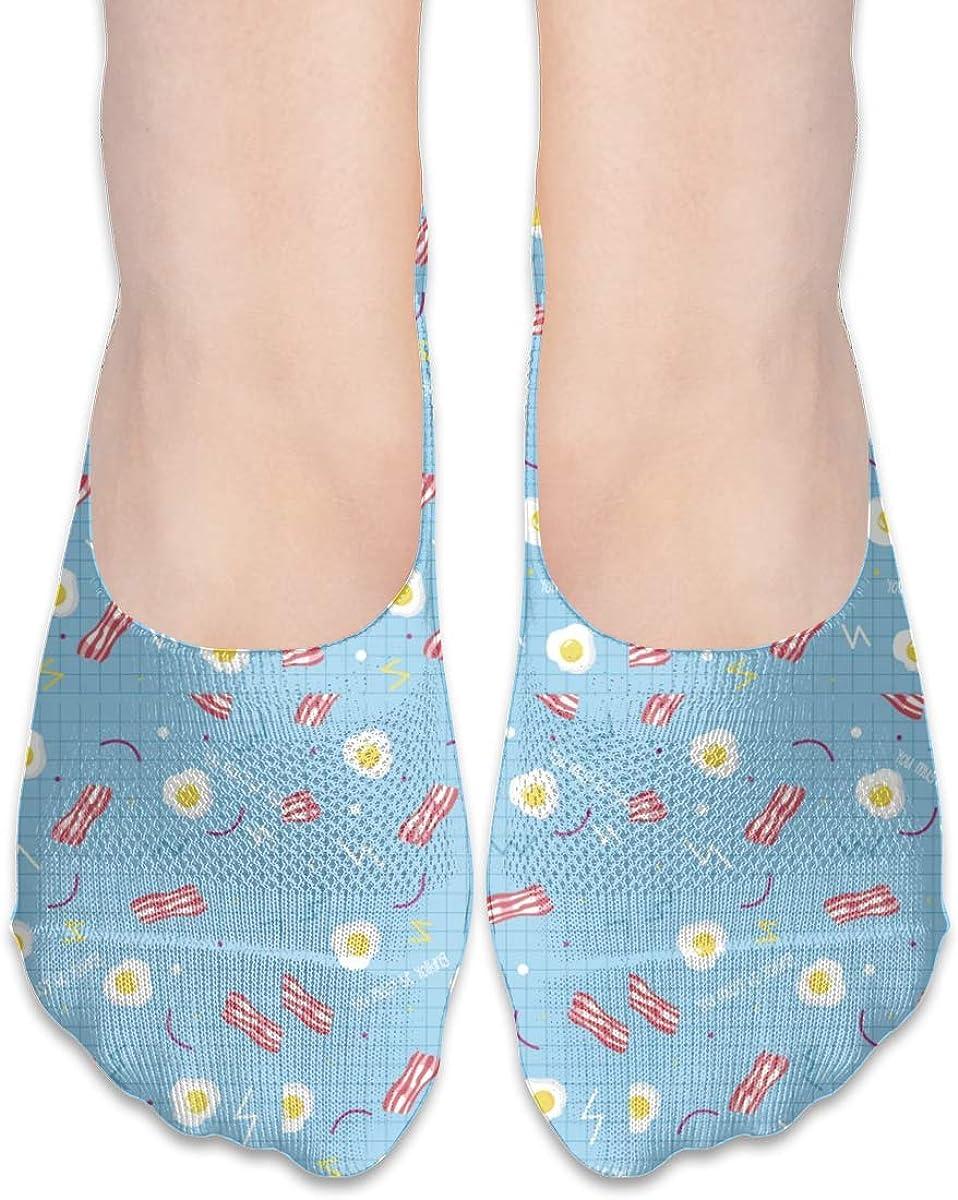 No Show Socks Women Men For Bacon Egg Striped Blue Plaid Flats Cotton Ultra Low Cut Liner Socks Non Slip
