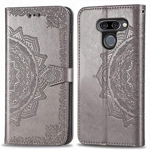 Bear Village Hülle für LG K50 / LG Q60, PU Lederhülle Handyhülle für LG K50 / LG Q60, Brieftasche Kratzfestes Magnet Handytasche mit Kartenfach, Grau