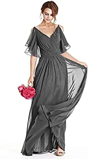 Women's Formal Prom Evening Dress V-Neck Bridesmaid Dress Long