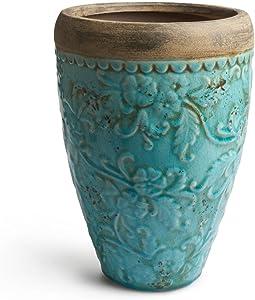 Black Velvet Studio Jarrón Milos cerámica, Color Turquesa y Terracota. Su Textura y Color aporta Personalidad a tú Ambiente 32x22x22 cm.