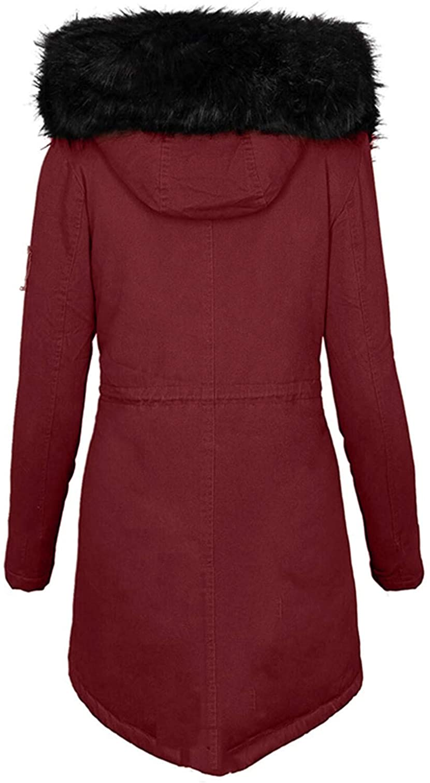 XCVBX Damen Manteljacke Mode Einfarbig Frauen Lässig Dicker Winter Slim Coat Mantel Langärmelige Reißverschlusstasche Gepolsterte Outwear 3 Wein